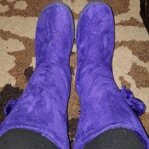 Shoes - Purple Pom-pom Fur Lined Boots